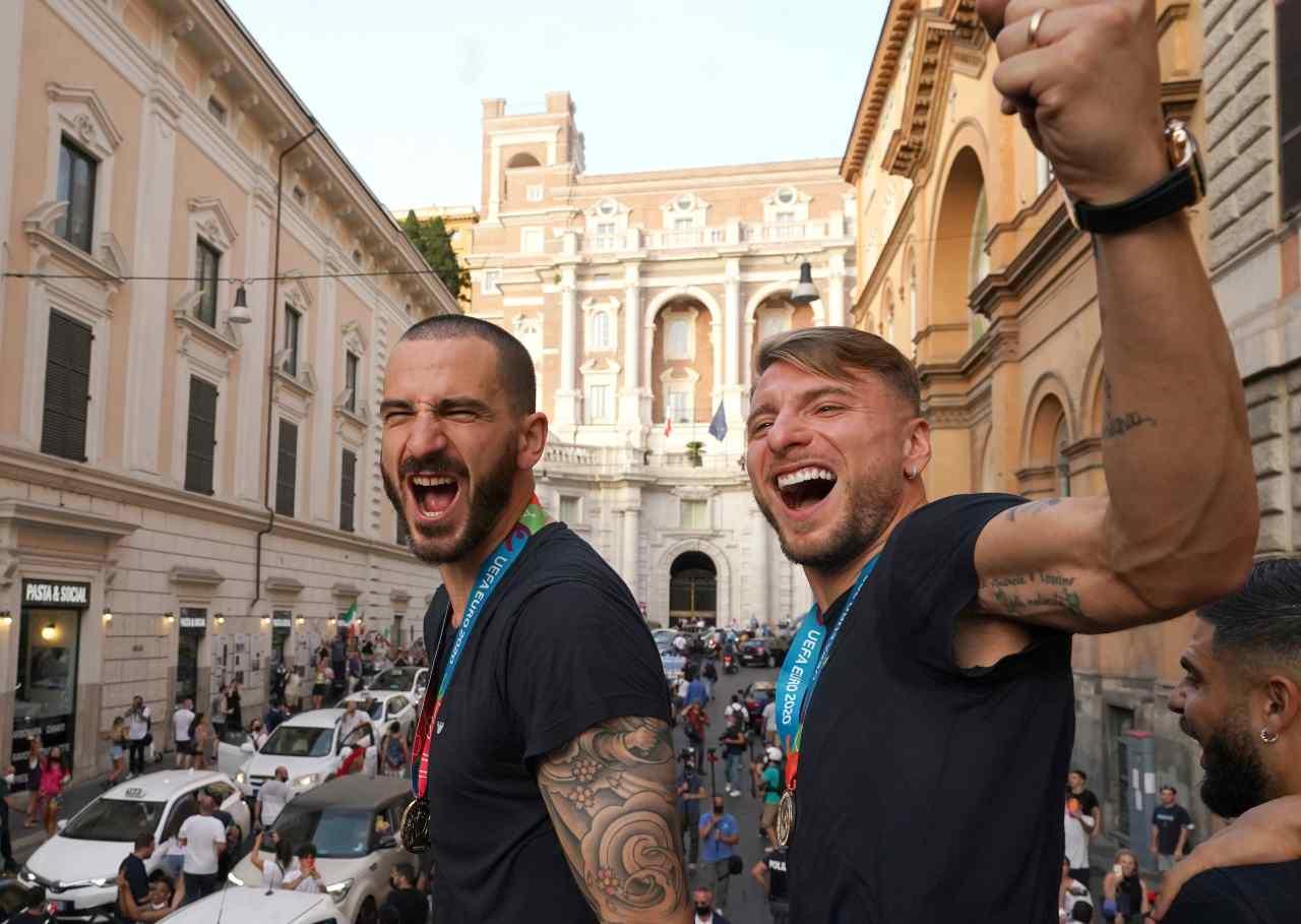 Italia, Bonucci e Immobile sul bus scoperto