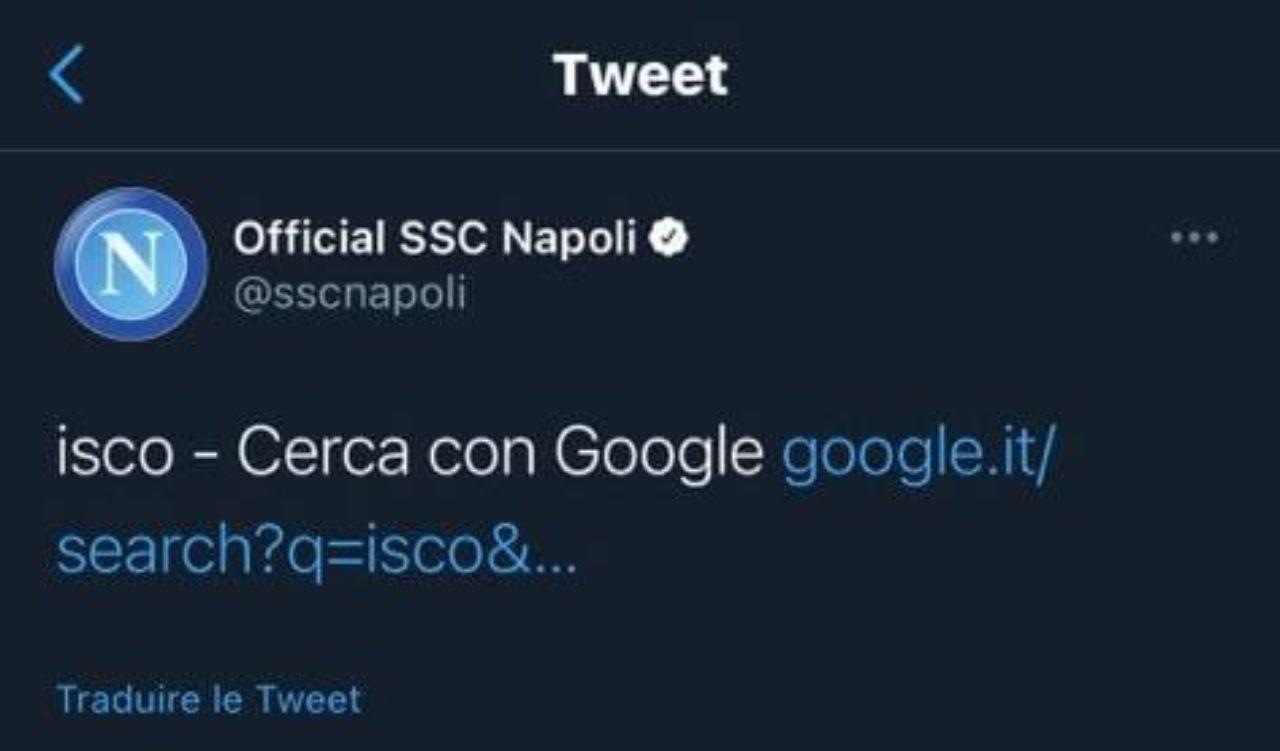 Il tweet del Napoli su Isco