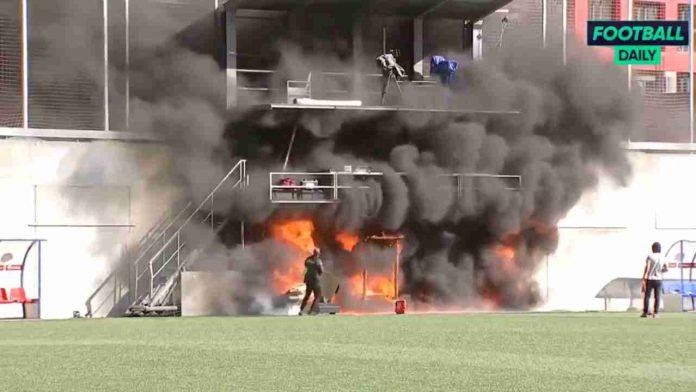 Inghilterra, incendio allo stadio